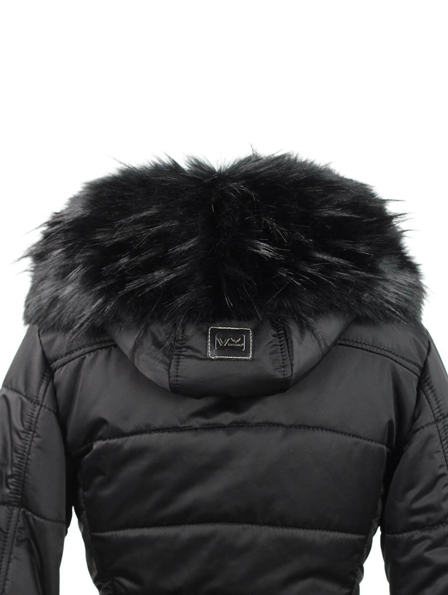 Witte dames winterjas halflang Genny Versano black zip