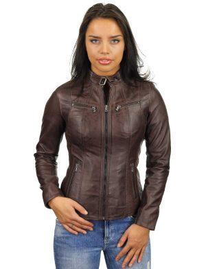 leather-ladies-coats-brown-round-collar-315-model3