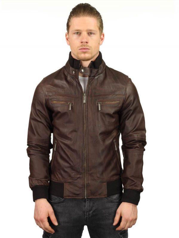 dda0c3940f9 Chaqueta de cuero marrón para hombre con cinturón acanalado ...