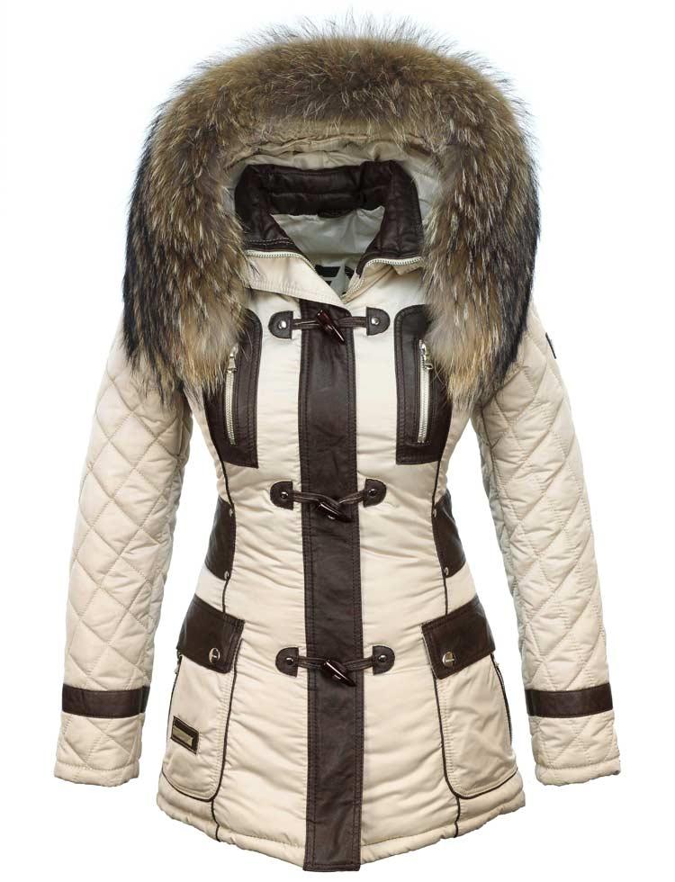 hot sale online 47fc9 3f902 Winterjas dames beige met bontkraag van Versano