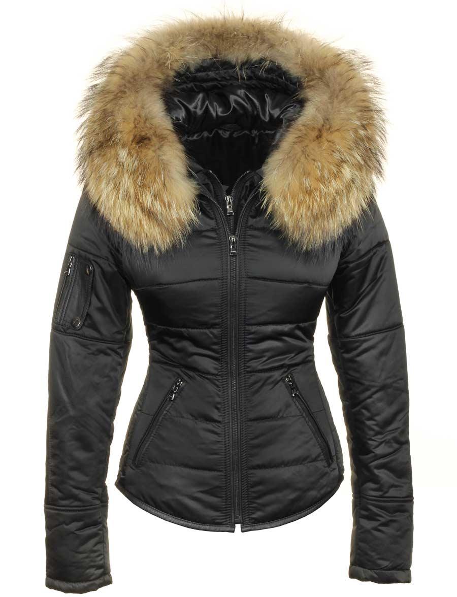 Winterjas met bontkraag zwart Shamila