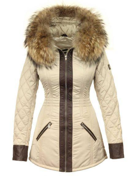 Fur collar jacket beige from Versano