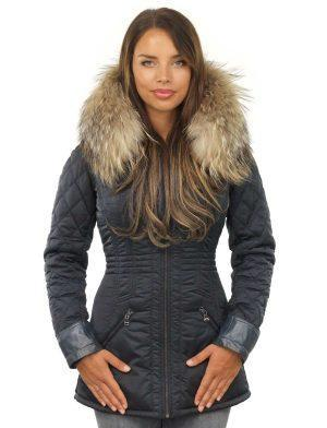 Ladies fur collar jacket blue by Versano