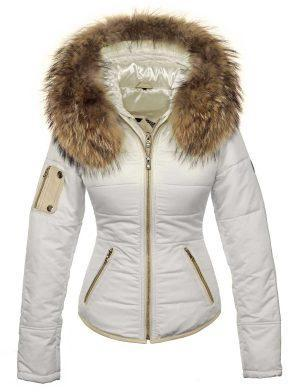 Winter coat with fur collar white Shamila