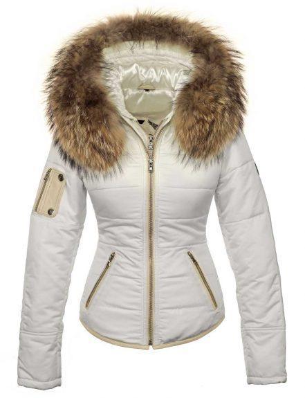 Winterjas met bontkraag wit Shamila