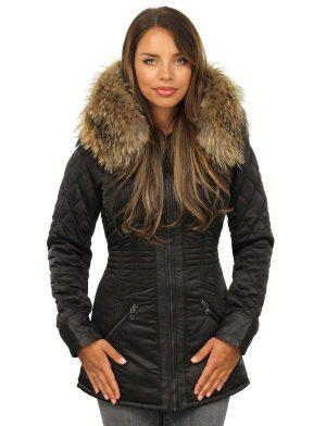 Ladies fur collar jacket black by Versano