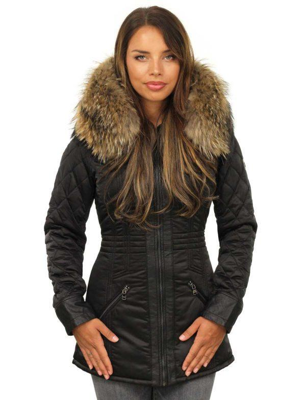 Dames bontkraag jas zwart van Versano