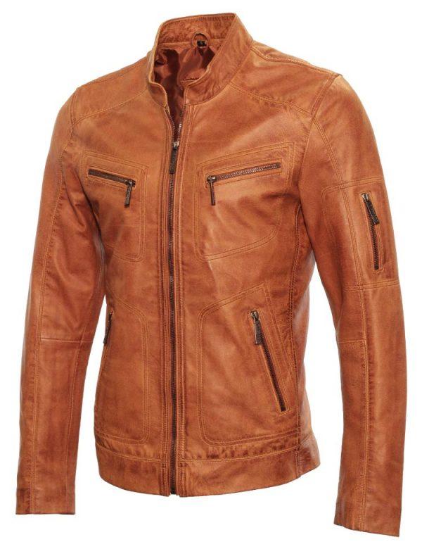 fcb8de2b8076b5 Leren heren jasje cognac, Leren heren jas cognac van Versano