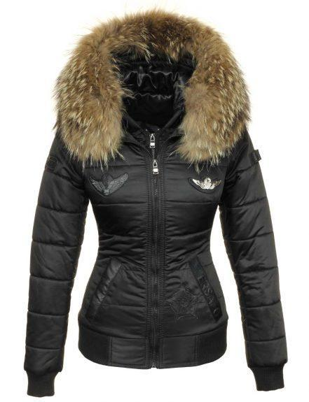 Winter coat fur collar ladies with badges black Versano