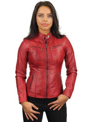 leather jacket-red-round-collar-315-model2