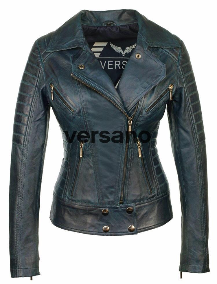 leren dames biker jas blauw Versano