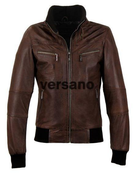 Brown Leder Herrenjacke mit ribband