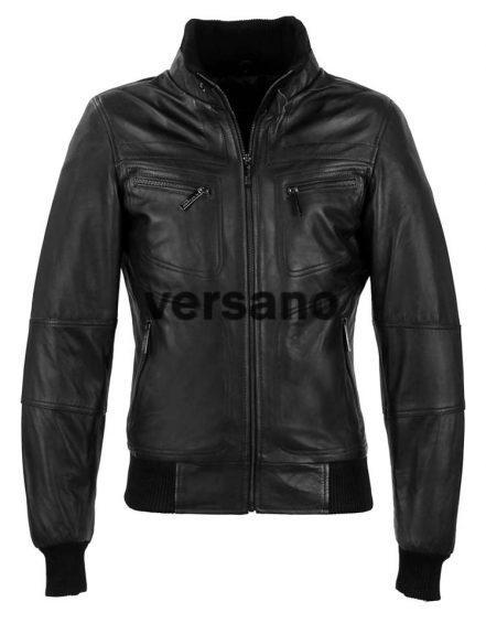 Schwarzes Leder Herrenjacke aus Versano