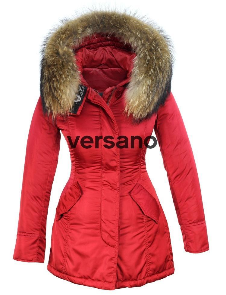 size 40 f2af8 32b13 Rode dames parka winterjas met bontkraag van Versano