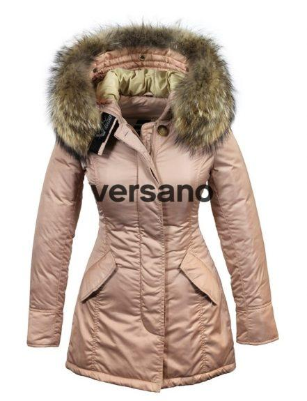 Ladies parka winter jacket with fur collar pink by Versano