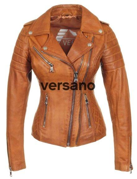 Dames leren biker jack cognac dubbel rits Versano