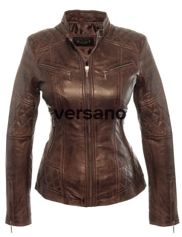 Bruine leren dames jasje van Versano