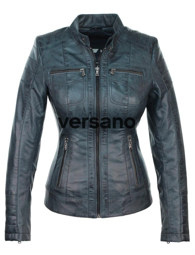 Dames Parka Zomerjas.Ladies Jacket Imitation Leather Blue Versano 318 Ladies Jacket