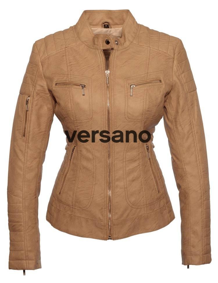 Versano Leather Jas Imitatieleren Dames Doci Miami Camel Shop f76byvYg