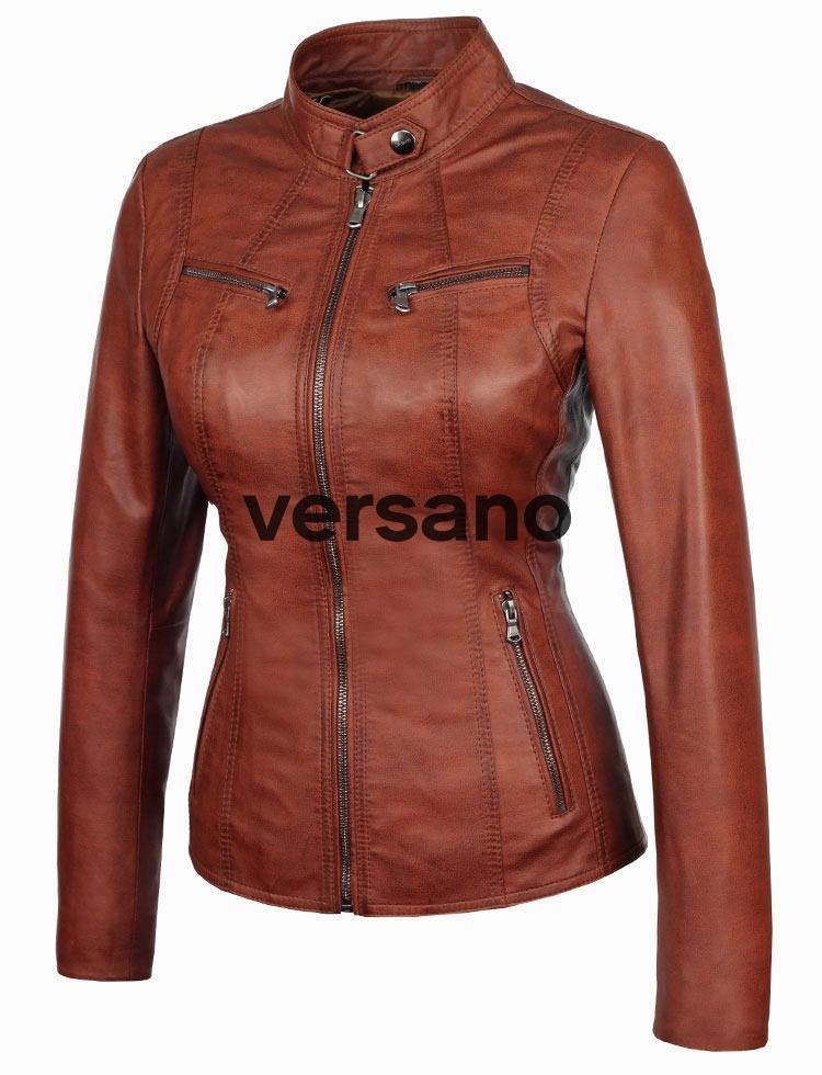 d632fb5043a La imitación de cuero de las señoras chaqueta marrón Versano 315. La ...