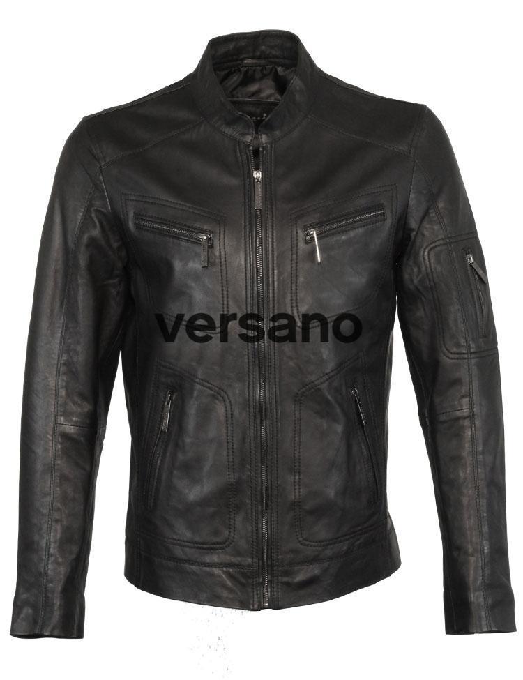 Leren heren jas zwart van Versano