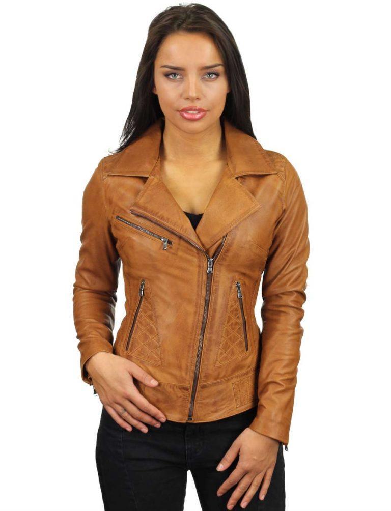896716b474eec Veste femme en cuir de style motard Cognac de Versano, veste femme ...