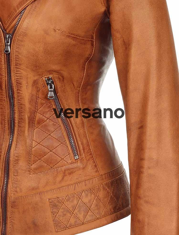 Leren damesjas in bikerlook Cognac van Versano