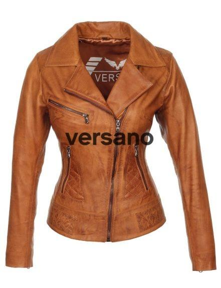 Leren damesjas in bikerlook Cognac van Versano