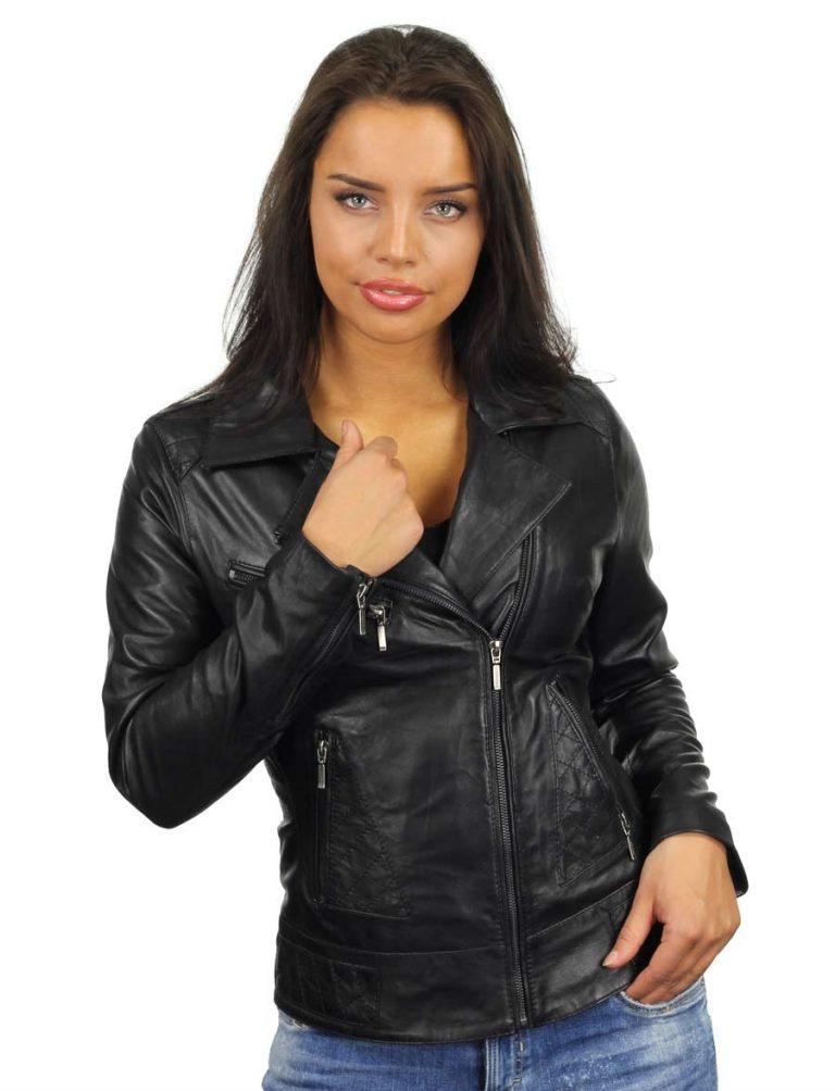 buy popular f455c 62d93 Leren dames jas in bikerlook zwart van Versano
