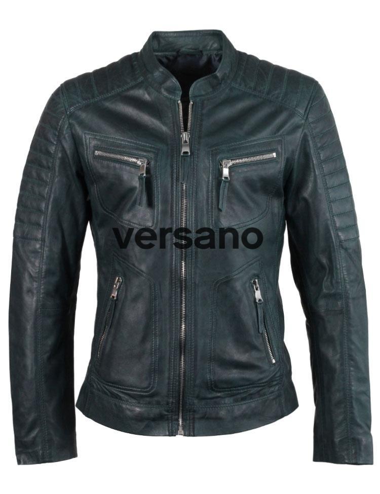 Motor look leren jas heren blauw van Versano