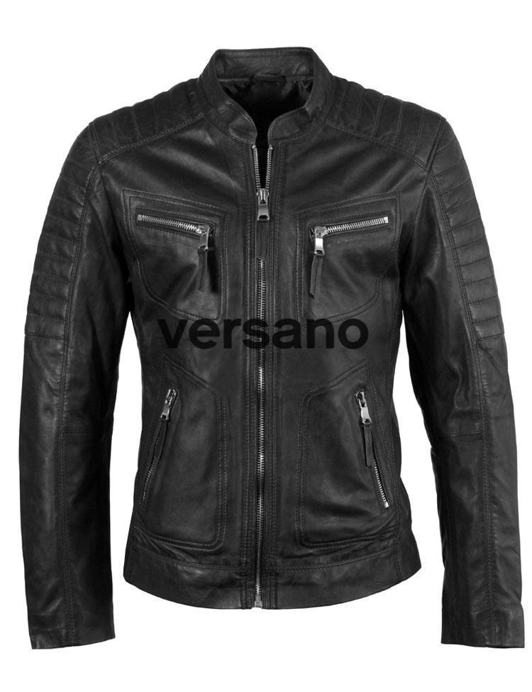 Heren biker model jack zwart geitenleer van Versano