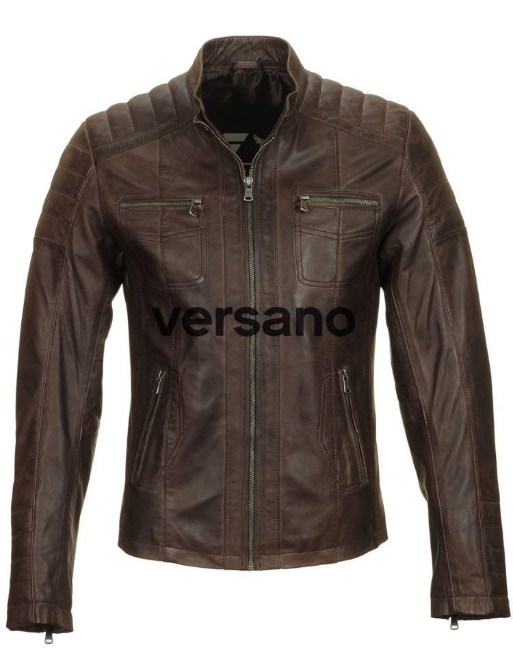 Bruine leren herenjas bikerlook van Versano
