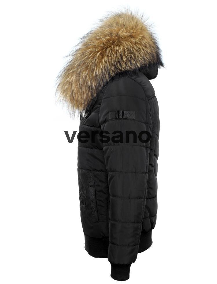 Winterjas Heren Zwart.Heren Winterjas Bontkraag Met Badges Cobra Versano Zwart