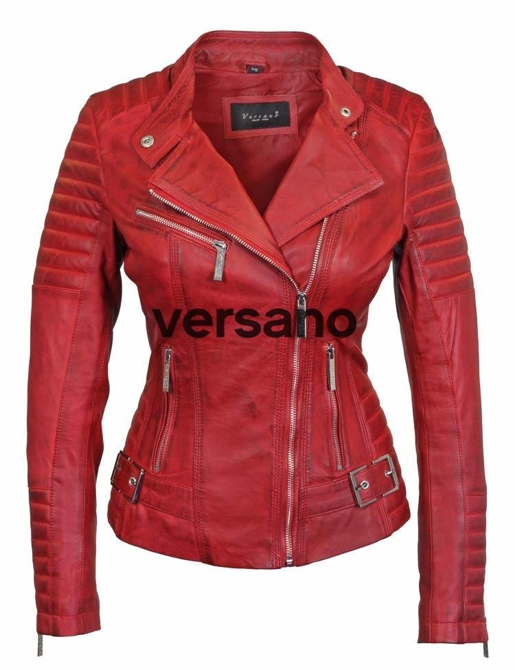 Rode dames biker jack van Versano