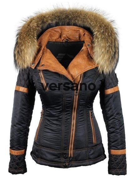 Jacket with fur collar ladies blue by Versano