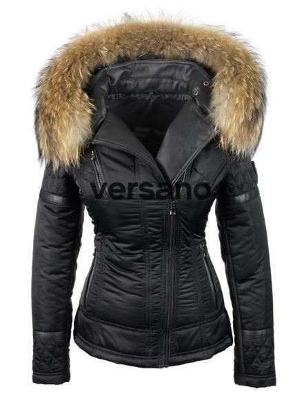 Jacket with fur collar ladies black from Versano