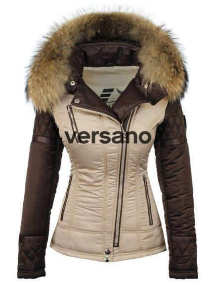 Winter jacket with fur collar beige-brown by Versano