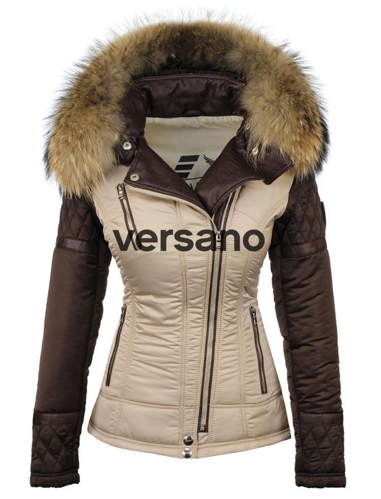 0479c277b28e43 Winterjas met bontkraag beige-bruin van Versano