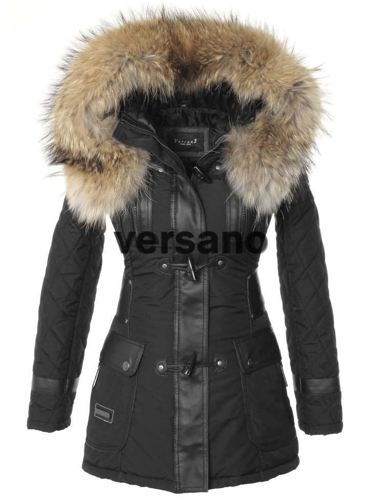 dbfc557dd97c7e Winterjas dames zwart met bontkraag van Versano