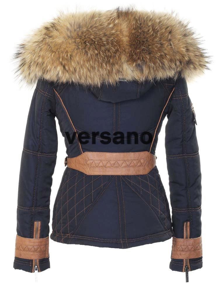Beste Blauwe dames jas met bontkraag van Versano, dames mantel met pels EA-82