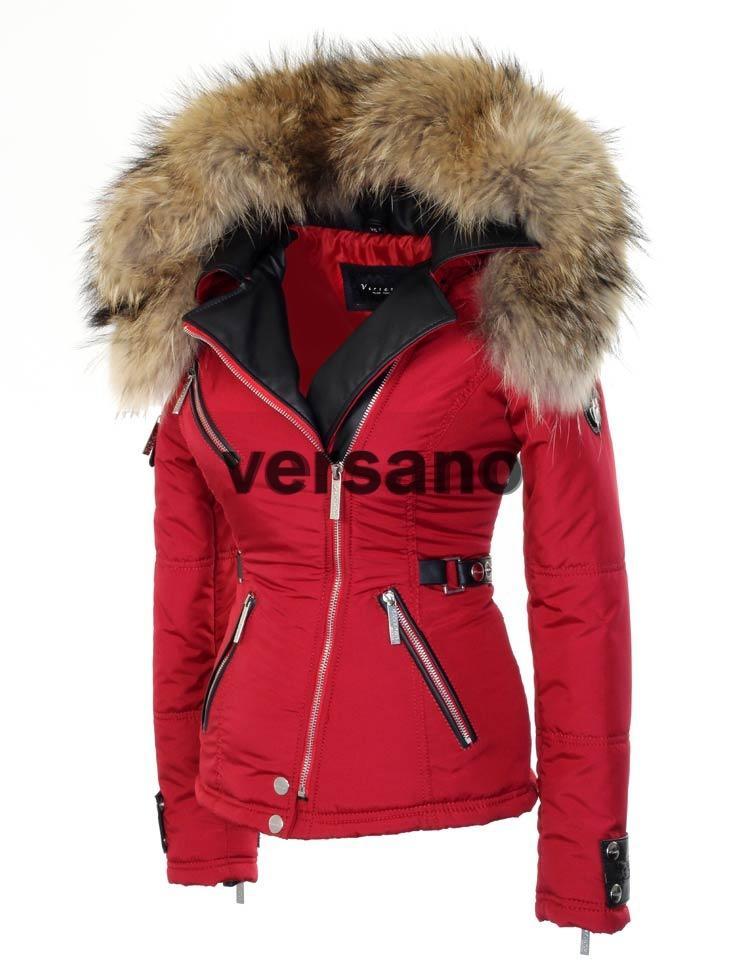 Rode Winterjas.Rode Dames Jas Met Bontkraag Van Versano Rode Jas Met Pels