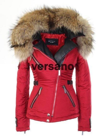 Rode dames jas met bontkraag van Versano
