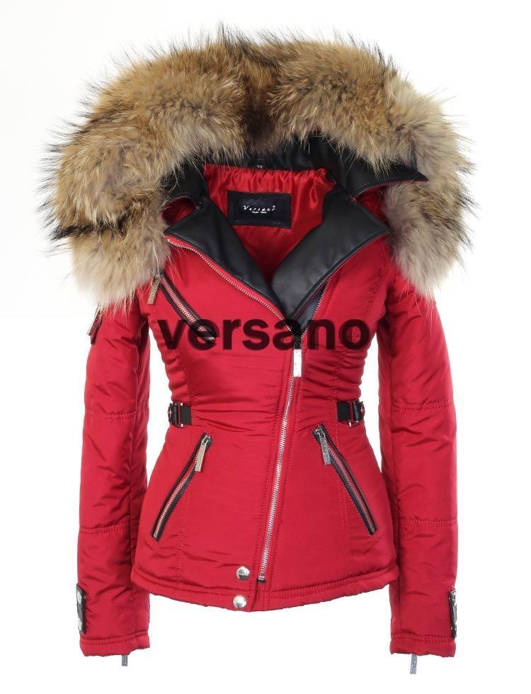 timeless design 6ebdc 53899 Rode dames jas met bontkraag van Versano