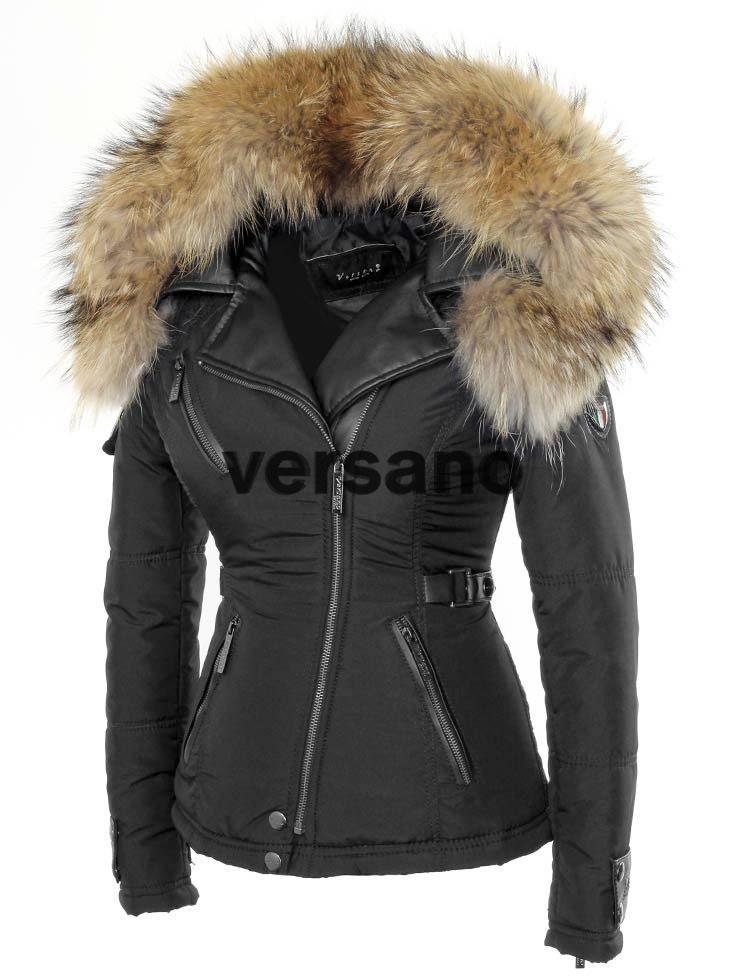 Zwarte Korte Winterjas Dames.Korte Dames Winterjas Met Bontkraag Zwart Van Versano Jas Met Pels