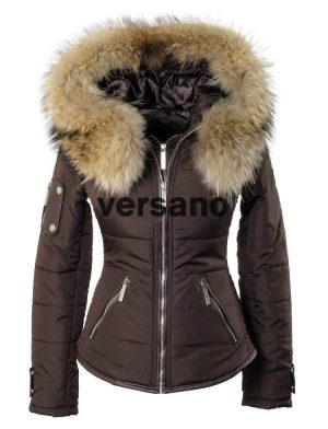 ladies coat with fur collar brown Shamila