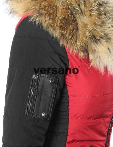 jas met bontkraag rood zwart Shamila, dames winterjas in