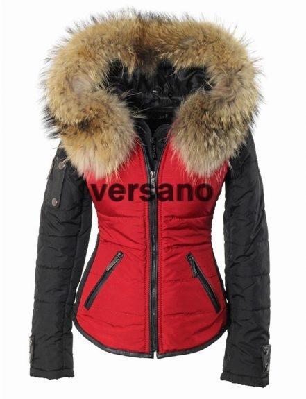 jas met bontkraag rood-zwart Shamila