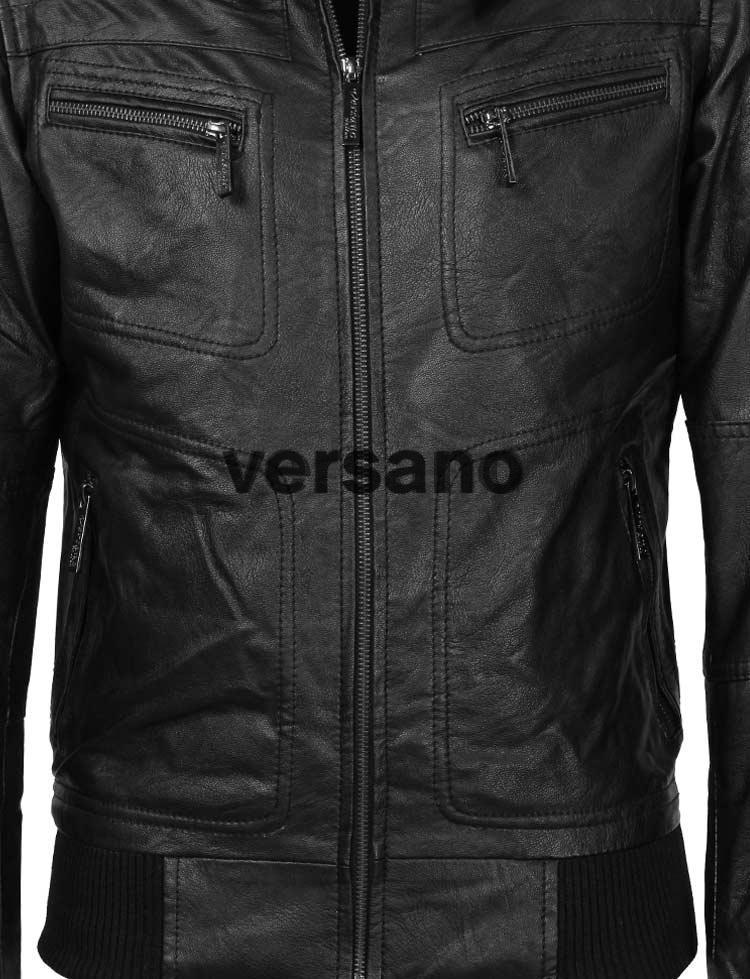 Imitatieleren jas heren Versano TRR 502 Zwart