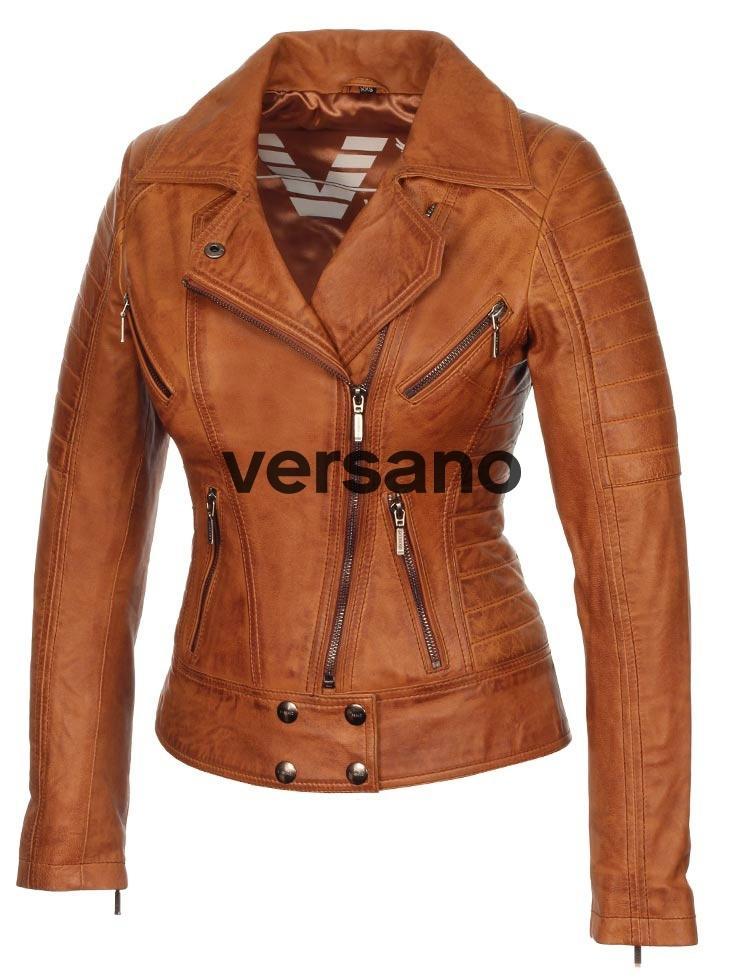Leren Jas Dames Cognac.Dames Leren Jas Biker Model Cognac Van Versano Cognac Biker Jack