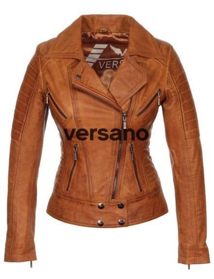 Dames leren jas biker model cognac van Versano